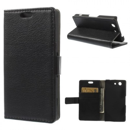 Lommebok Etui for Sony Xperia Z3 Compact Svart
