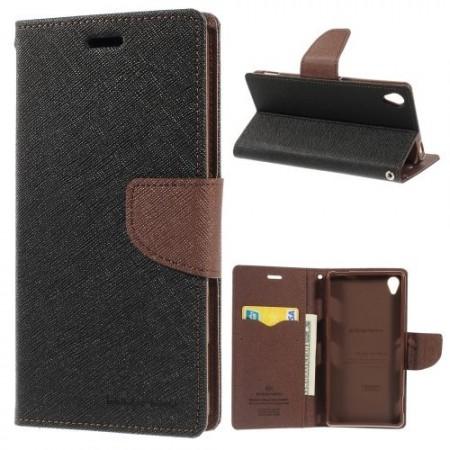 Lommebok Etui for Sony Xperia Z3 Mercury Svart/Brun