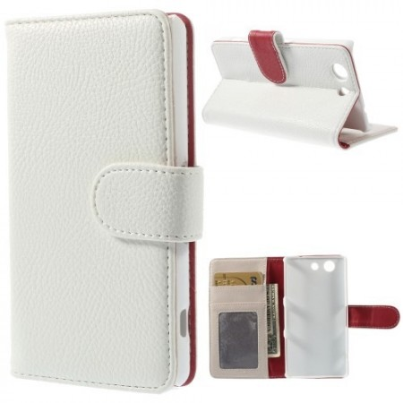 Lommebok Etui for Sony Xperia Z3 Compact Lychee Hvit
