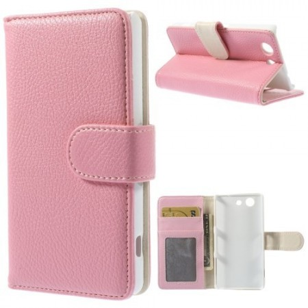 Lommebok Etui for Sony Xperia Z3 Compact Lychee Rosa