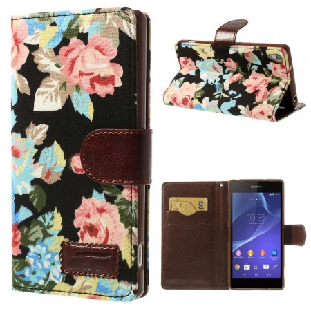 Lommebok Etui for Sony Xperia Z2 Rose Svart