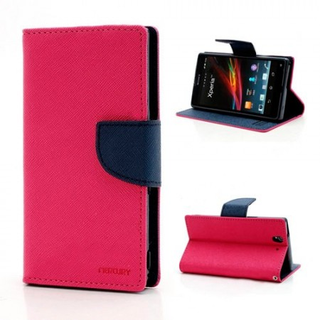 Lommebok Etui for Sony Xperia Z1 Compact Mercury M�rk Rosa