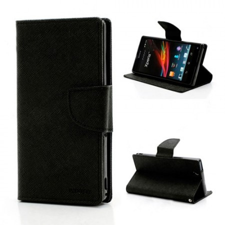 Lommebok Etui for Sony Xperia Z1 Compact Mercury Svart