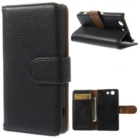 Lommebok Etui for Sony Xperia Z3 Compact Lychee Svart