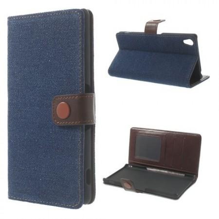 Lommebok Etui for Sony Xperia Z3 Denim M�rk Bl�