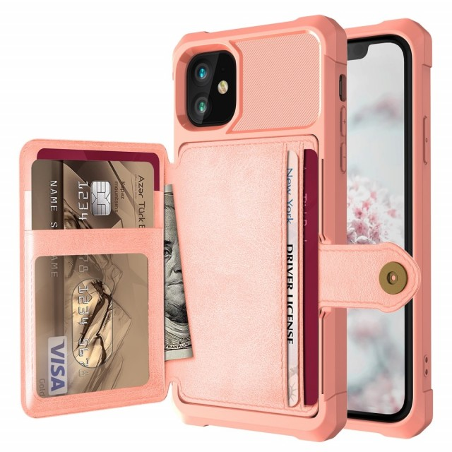 iPhone 12 6,1 / iPhone 12 Pro 6,1 Deksel Armor Wallet Rosègull